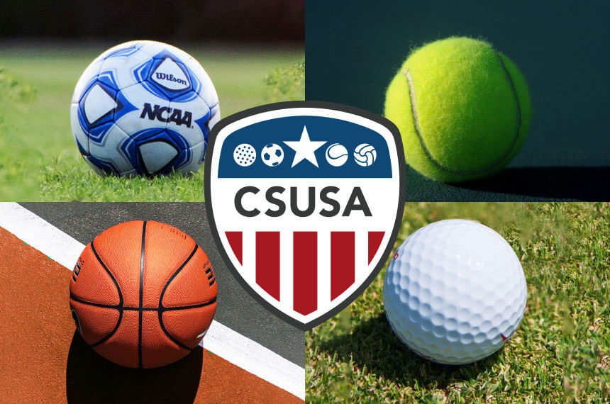 CSUSA logo with a collection of different balls behind - football, tennis ball, golf ball and a basket ball
