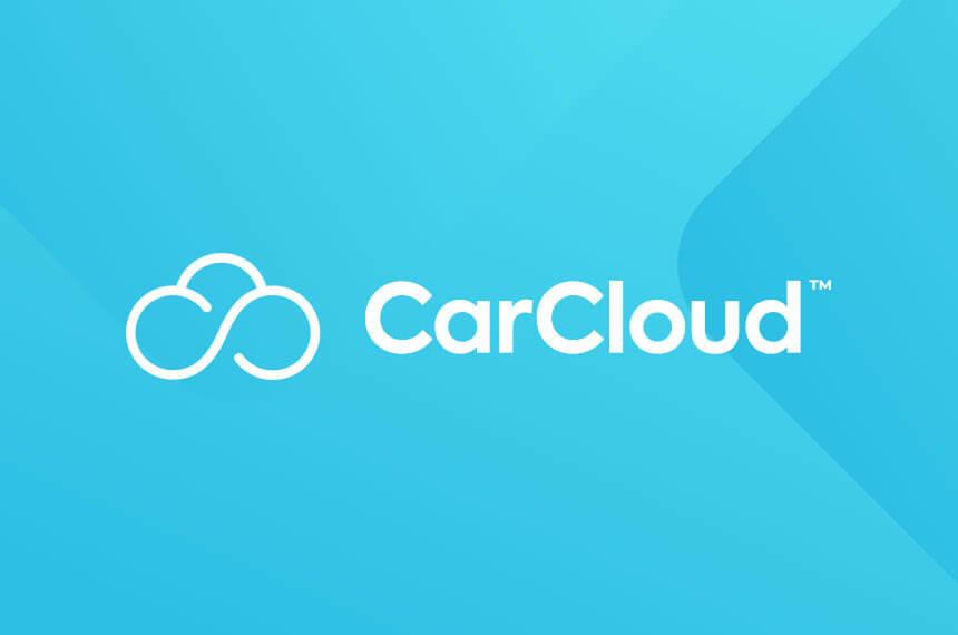 car cloud logo on an aqua background