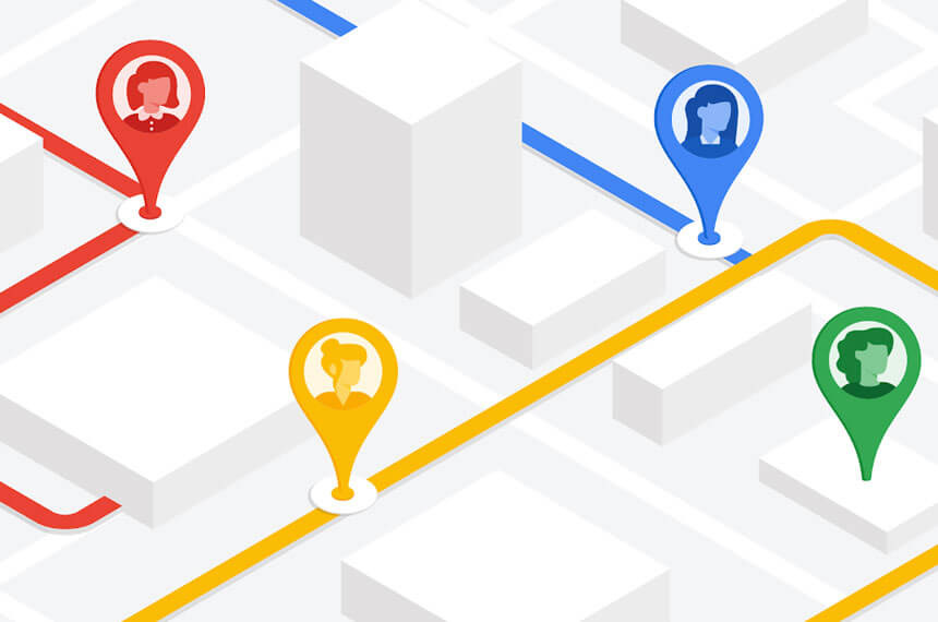 Google maps background with colourful routes and pins