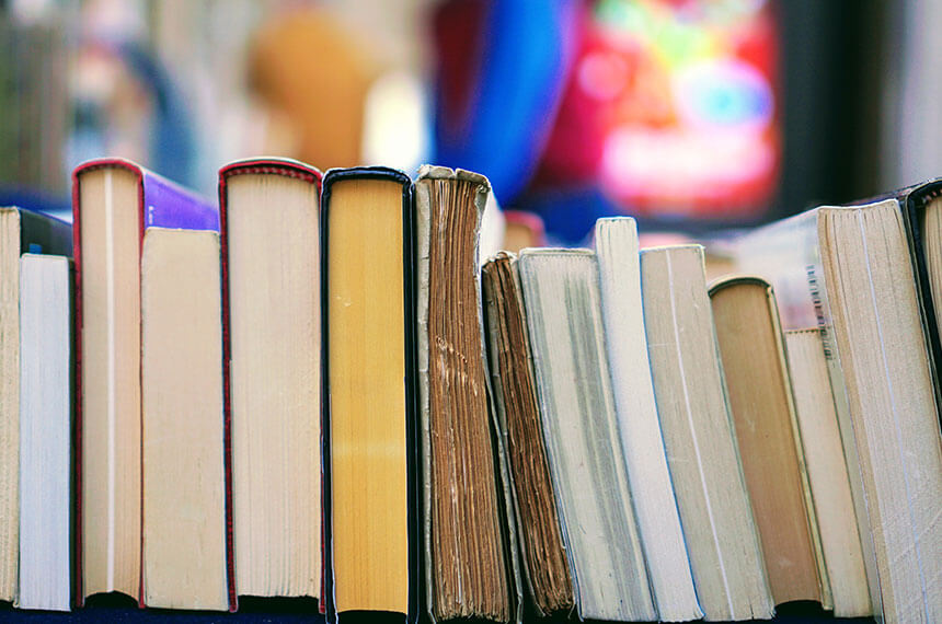 Books of varying age stored face down