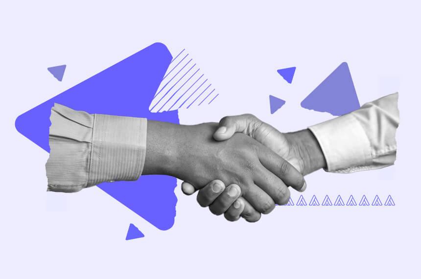 Arctic Shores handshake with Class