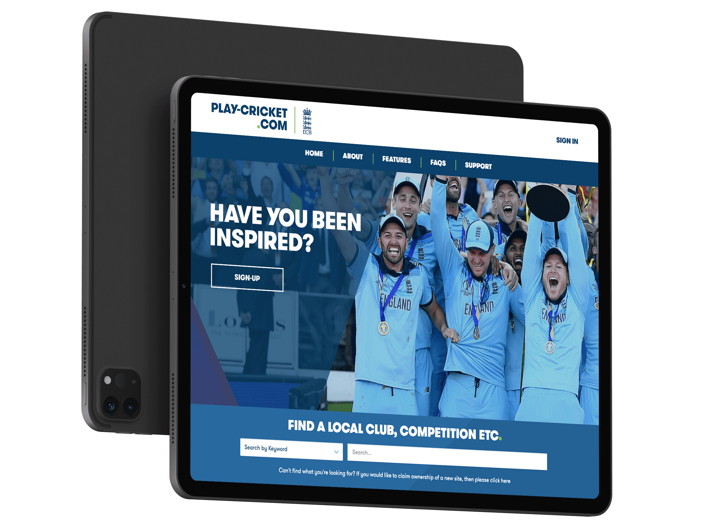 Play-cricket website design displayed on a tablet