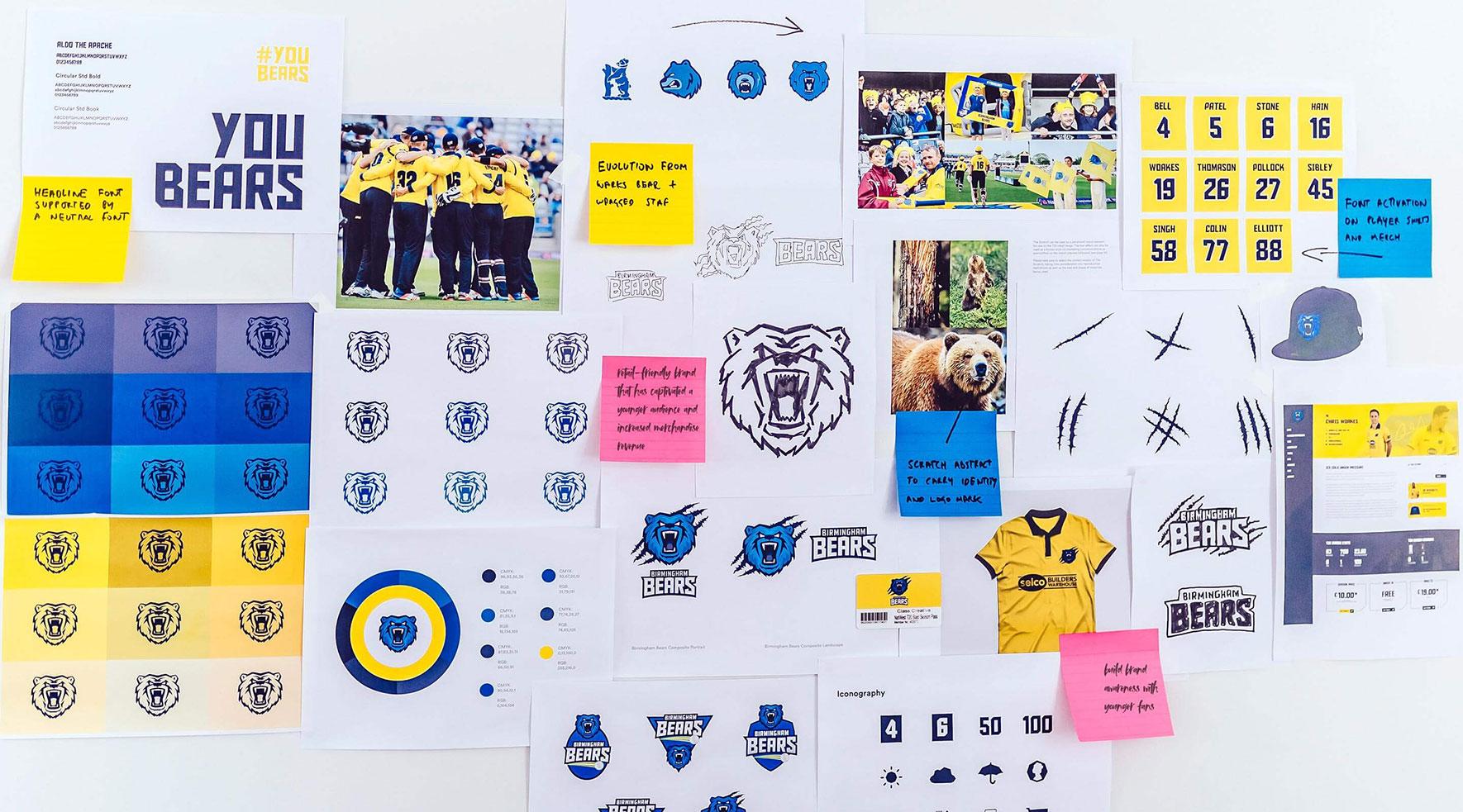 Birmingham Bears branding and logo creation mock ups