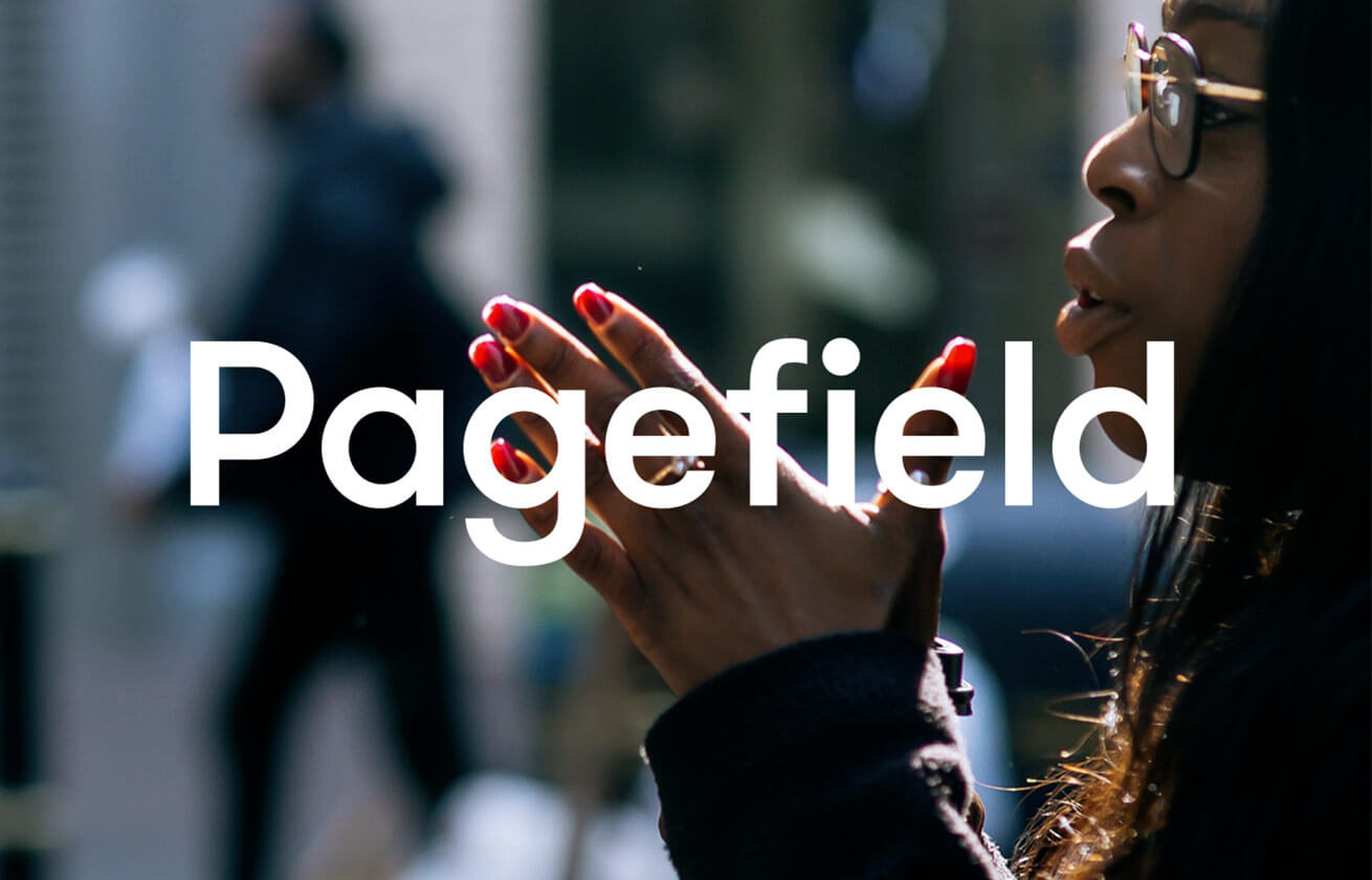 Lady with hands together with the pagefield logo infront