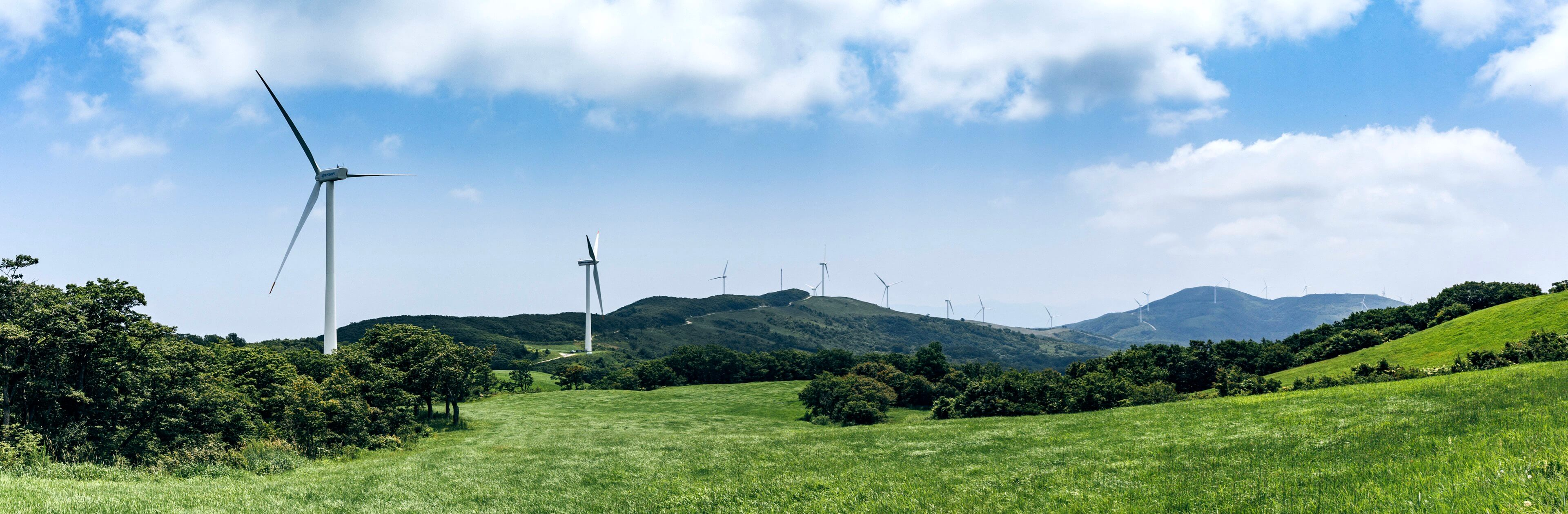 Rolling hills with wind turbines scattered throughout